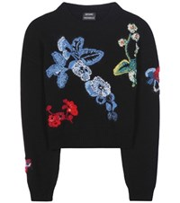 Anthony Vaccarello Embroidered Wool And Cashmere Sweater Black