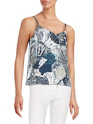 French Connection Lala Palm Leaf Print Top Summer White