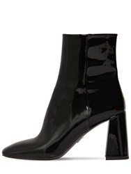 Prada 85Mm Patent Leather Ankle Boots Black