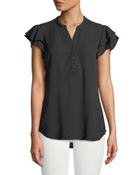 Carmen By Carmen Marc Valvo Ruffle Tiered Button Front Blouse Black