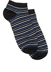 Barneys New York Striped Ankle Socks Grey