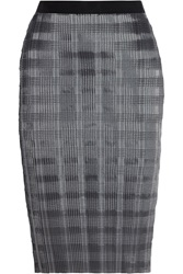 Alexander Wang Pinstriped Plisse Satin Pencil Skirt