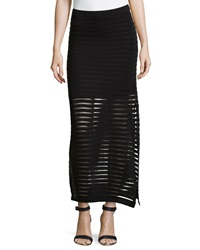 Neiman Marcus Shadow Stripe Maxi Skirt Black