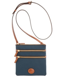 Dooney And Bourke North South Triple Zip Nylon Crossbody Navy