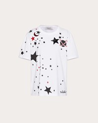Valentino Embroidered Jersey T Shirt White 100 Cotone