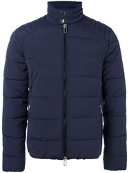 Paolo Pecora Banded Collar Padded Jacket Blue