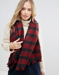 Yumi Navy And Red Check Scarf Multi