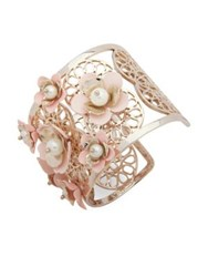 Ivanka Trump Faux Pearl And Crystal Wide Cuff Bracelet Pink