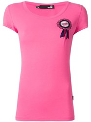 Love Moschino Chest Embroidered Logo T Shirt Pink Purple