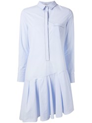 Brunello Cucinelli Pleated Shirt Dress Blue