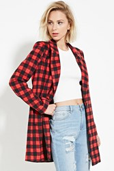 Forever 21 Plaid Longline Coat Red