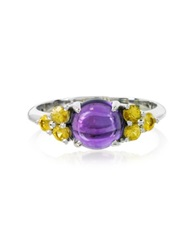 Mia And Beverly Amethyst And Sapphires 18K White Gold Ring Purple