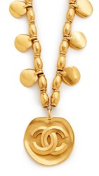 Wgaca Chanel Cc Bead Necklace Previously Owned Gold