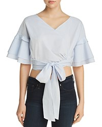 Aqua Tie Front Cropped Top 100 Exclusive Blue White