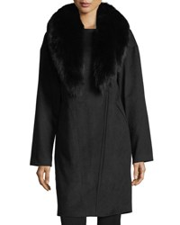 Belle Fare Cashmere Coat W Detachable Fox Fur Collar Black