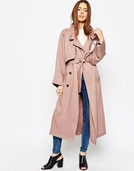 Asos Mac In Waterfall Drape With Roll Back Sleeve Blush Pink