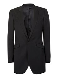 Topman Black Embroidered Longline Skinny Fit Blazer