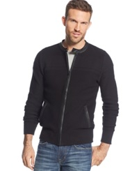 Guess Dawson Faux Leather Trim Zip Sweater Jet Black