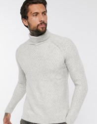 Bershka Chunky Cable Knit Sweater With Roll Neck In Cream