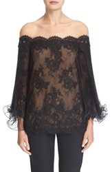 Marchesa Women's Flutter Sleeve Corded Lace Off The Shoulder Illusion Top