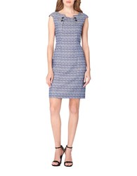 Tahari By Arthur S. Levine Tweed Sheath Dress Navy White