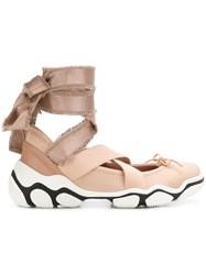 Red Valentino Ankle Tie Sneakers Neutrals