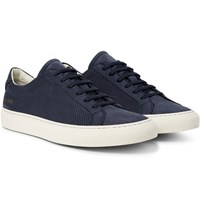 Common Projects Achilles Perforated Nubuck Sneakers Blue