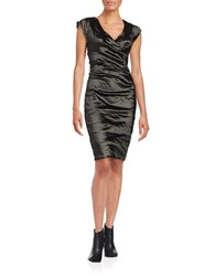 Nicole Miller Ruched Sheath Dress Black