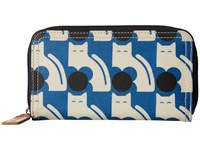Orla Kiely Poppy Cat Print Big Zip Wallet Powder Blue Wallet Handbags
