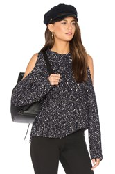 Rebecca Taylor Open Shoulder Boucle Pullover Black