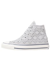 Converse Cuck Taylor All Star Hi Crochet Hightop Trainers Silver White Navy