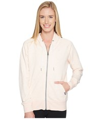 New Balance Classic Full Zip Hoodie Sunrise Glow Heather Women's Sweatshirt White