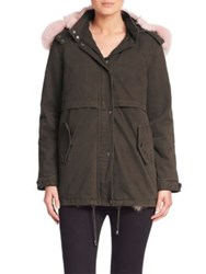 Jocelyn Two In One Bodia Parka And Fox Fur Vest Green Pink