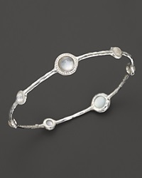 Ippolita Sterling Silver Stella 7 Stone Mini Lollipop Bangle In Mother Of Pearl Doublet With Diamonds