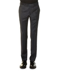 Lanvin Glen Plaid Flat Front Trousers Gray Dark