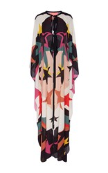 Elie Saab Long Fluid Stars Printed Cape