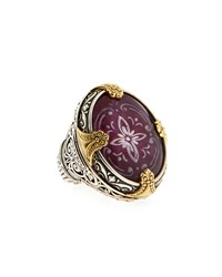 Konstantino Silver And 18K Oval Ruby And Quartz Floral Cocktail Ring Women's