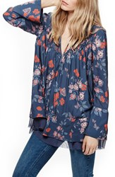 Free People Women's Floral Print Smocked Tunic Navy