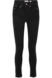 Re Done High Rise Ankle Crop Skinny Jeans Black Gbp