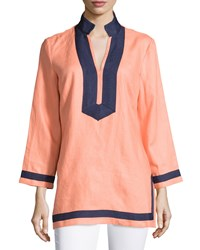 Sail To Sable Classic Linen Long Sleeve Tunic Desert Flower Navy