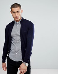 Emporio Armani Zip Through Logo Jumper In Navy 0924