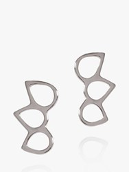 Matthew Calvin Triple Point Stud Earrings Silver