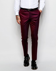Noose And Monkey Tuxedo Suit Trousers With Stretch In Skinny Fit Burgundy