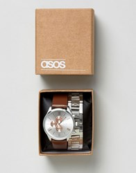 Asos Interchangeable Bracelet Watch Set In Silver Silver