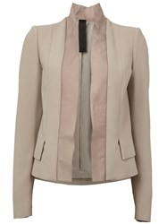 Ilaria Nistri Leather Lapel Blazer Nude And Neutrals