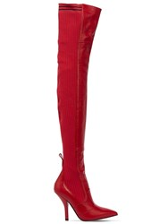 Fendi 105Mm Leather And Knit Over The Knee Boots Red