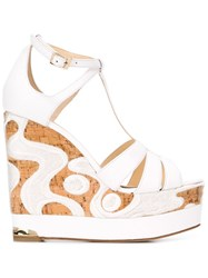 Paloma Barcelo Embroidered Cork 'Olivia' Sandals White