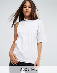 Asos Tall T Shirt With One Shoulder And Nibble Detail White