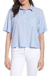 Velvet By Graham And Spencer Women's Crop Camp Shirt Chambray
