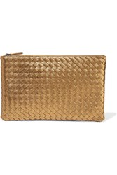 Bottega Veneta Metallic Intrecciato Leather Pouch Gold